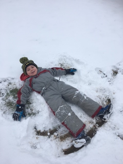 A boy in a grey snow suit making snow angels