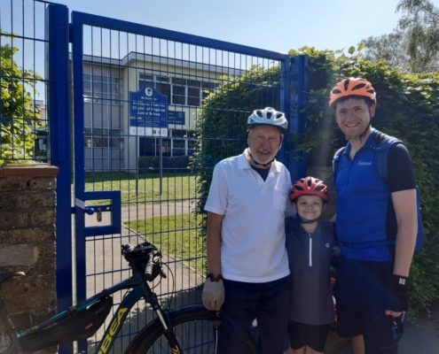 William Martin C of E pupil Rachel,her father and her grandfather on their cycle ride